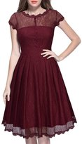 BeautyGal Women' Retro Lace Capleeve A-Line Ball Gown Dre(Wine)