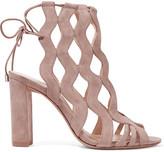 Alexandre Birman Loretta Cutout Suede Sandals - Beige