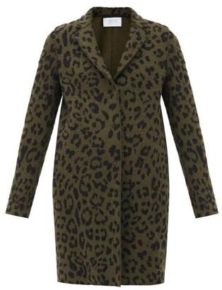 Harris Wharf London Leopard-print Pressed-wool Coat - Dark Green