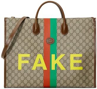 Gucci Fake Not Print Large Tote Bag