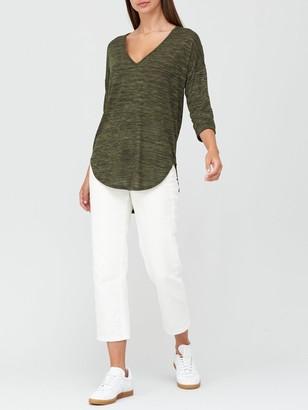 Very Snit V-Neck Slouchy Tunic - Khaki