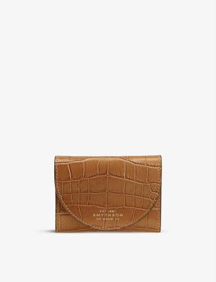 Smythson Mara Small Moon crocodile-embossed leather purse