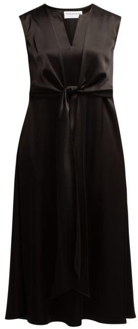 Osman V-neck Tie-front Dress - Black