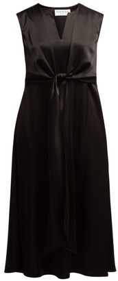 Osman V-neck Tie-front Dress - Black