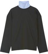 Cédric Charlier Chambray-trimmed Cotton-poplin Turtleneck Top - Dark green