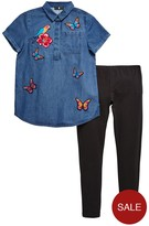 Very Girls Denim Top And Legging Set