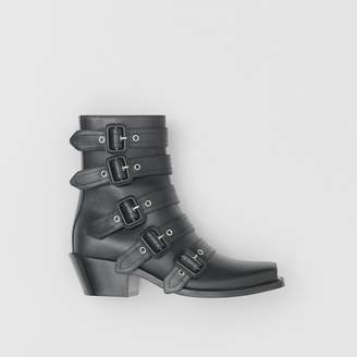 Burberry Buckled Leather Peep-toe Ankle Boots