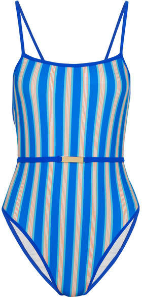 Diane von Furstenberg Belted Striped Swimsuit - Azure