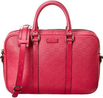 Gucci Pink Guccissima Leather Briefcase