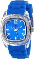 TKO ORLOGI Women's TK557-BL Tivoli Crystalized Plastic Case Rubber Strap Watch