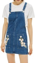 Topshop Women's Tulip Embroidered Denim Pinafore Dress