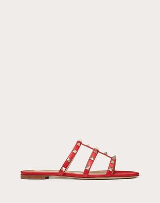Valentino Rockstud Flat Slide Sandal Women Light Ivory Lambskin 100% 35
