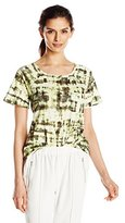Calvin Klein Jeans Women's Short Sleeve Abstract Plaid Printed Raglan Slub Tee