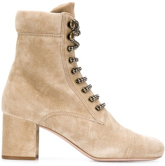 Miu Miu Lace-Up Suede Booties