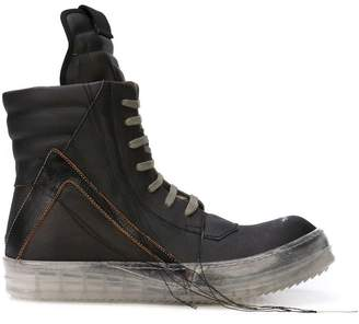 Rick Owens distressed hi-top sneakers