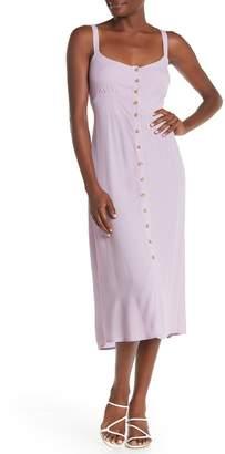 MelloDay V-Neck Button Front Midi Dress