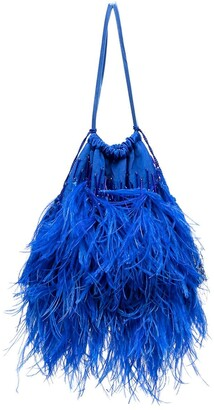 ATTICO Ostrich Feather Tasseled Pouch