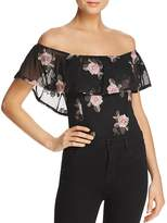 Band of Gypsies Ruffled Floral-Print Off-the-Shoulder Bodysuit