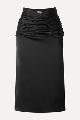 Orseund Iris Romantique Ruched Satin Skirt - Black