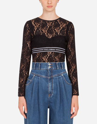 Dolce & Gabbana Long-Sleeved Lace Top With Branded Elastic