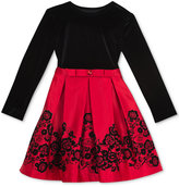 Rare Editions Black Velvet & Flocked Skirt Dress, Toddler & Little Girls (2T-6X)