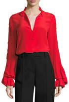Alexis Rocio Silk Ruffle-Sleeve Top, Red