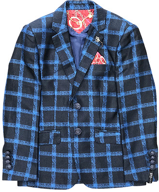 Elie Balleh Boys' Blazers NAVY - Navy & Blue Plaid Blazer - Toddler & Boys