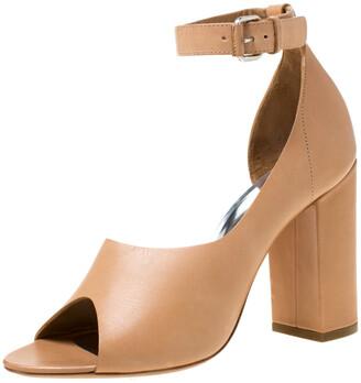 3.1 Phillip Lim Beige Leather Peep Toe Ankle Strap D'orsay Pumps Size 38.5
