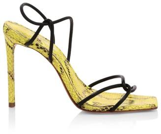 Schutz Gabiele Snakeskin-Embossed Leather Sandals