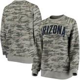 Unbranded Women's Pressbox Camo Arizona Wildcats Gulfport Applique French Terry Crew Neck Sweatshirt