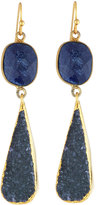 Nakamol Golden Agate & Druzy Double-Drop Earrings, Blue