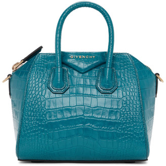 Givenchy Blue Croc Mini Antigona Bag
