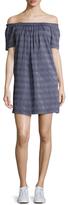 Shoshanna Cotton Stripe Off Shoulder Shift Dress