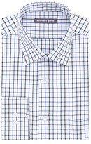 Geoffrey Beene Men's Fitted Tattersall Spread Collar Dress Shirt