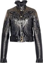 Elie Saab Embroidered Leather Jacket