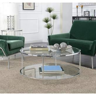 Johar Furniture Royal Crest 2 Tier Round Glass Coffee Table Glass/Chrome