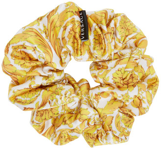 Versace White and Gold Barocco Scrunchie