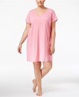 Charter Club Plus Size Printed Cotton Knit Sleepshirt, Only at Macy's