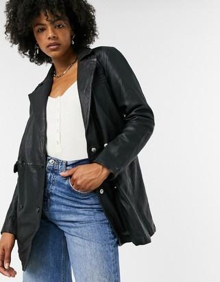 Goosecraft worn leather blazer in black