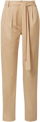Jason Wu Grey Belted Cotton-blend Twill Tapered Pants