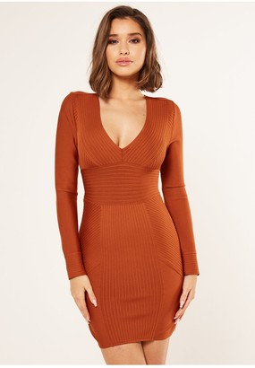The Girlcode Bandage long sleeve ribbed bodycon dress in tan