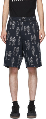 Moschino Navy Fantasy Print Suited Man Shorts