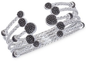 Rhona Sutton 5 Row Crystal Dome Cuff Bangle in Sterling Silver