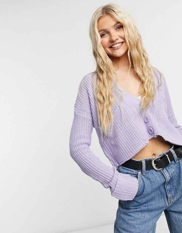 Thumbnail for your product : Qed London cropped cardigan in pale lilac