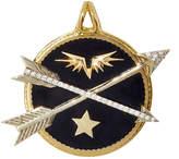 Foundrae Diamond Crossed Arrows in Black Champleve Enamel