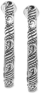 Carolyn Pollack Medium Filigree Hoop Earrings in Sterling Silver