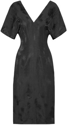Bassike Linen-blend Satin-jacquard Midi Dress