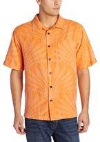 Margaritaville Men's Short Sleeve Palm Fronds Jacquard Silk Shirt