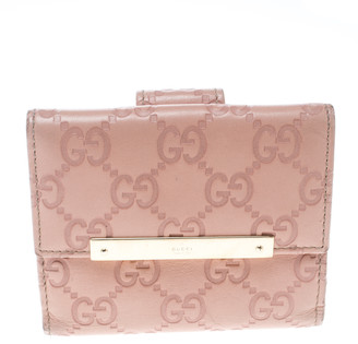 Gucci Blush Pink Guccissima Leather Mini Flap French Wallet