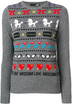 Love Moschino striped crew neck jumper